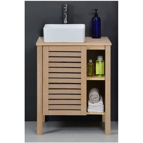 Meuble salle de bain bois 60 cm palm vasque carr e 38cm 3760232695739 - Meuble salle de bain 60 cm ...