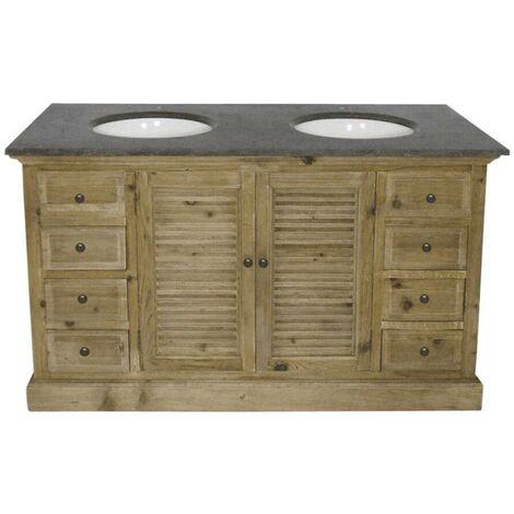 Meuble salle de bain bois massif 2 vasques, 2 portes à clayettes 8 tiroirs - Bois