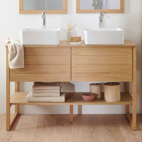 Meuble salle de bain Chêne naturel 120 cm ATOLL - Meuble double vasque en Bois - Bois Clair