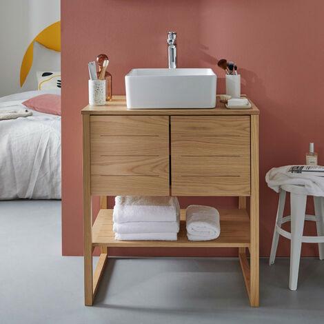 Meuble salle de bain Chêne naturel 70 cm ATOLL + Vasque carrée 36 cm - Bois Clair