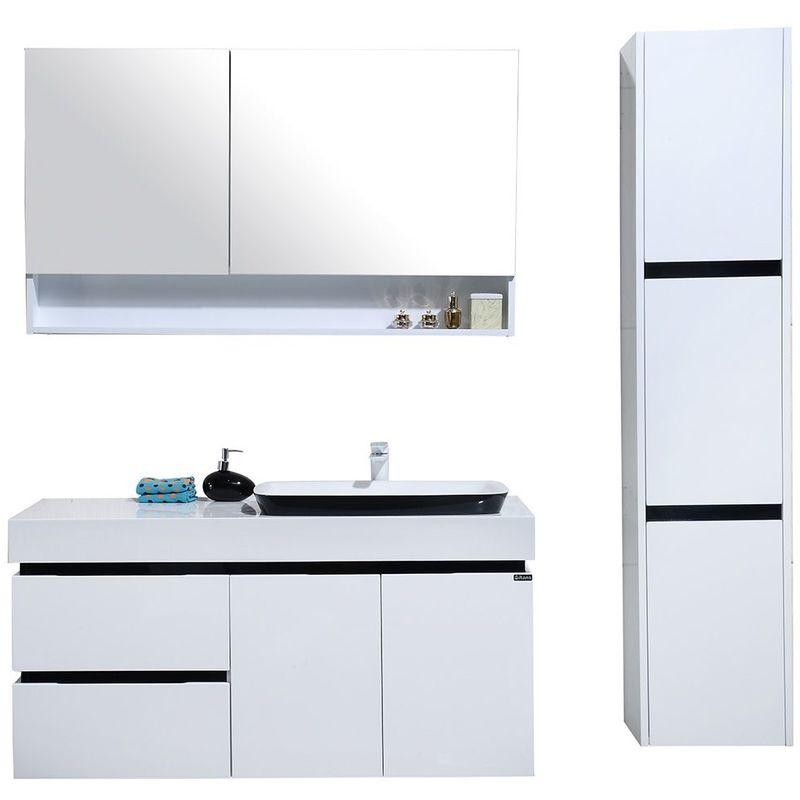 Meuble salle de bain colonne de rangement simple vasque - Blanc et noir  brillant 120CM