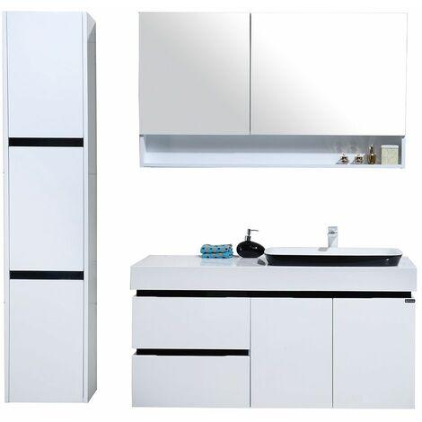 Meuble Salle De Bain Colonne De Rangement Simple Vasque   Blanc Et Noir  Brillant 120CM