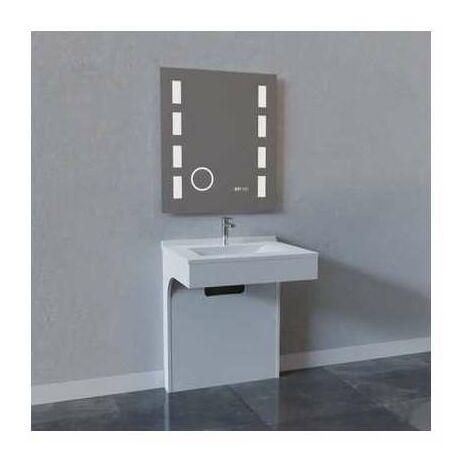 """main image of """"Meuble de salle de bain blanc Epure à miroir rétro-éclairant - Créazur"""""""