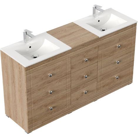 Meuble salle de bain Cosmo classique décor chêne à poser