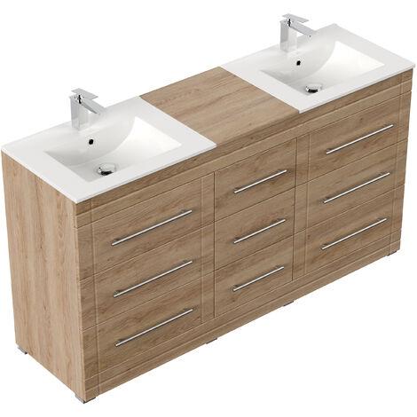 Meuble salle de bain Cosmo moderne décor chêne à poser