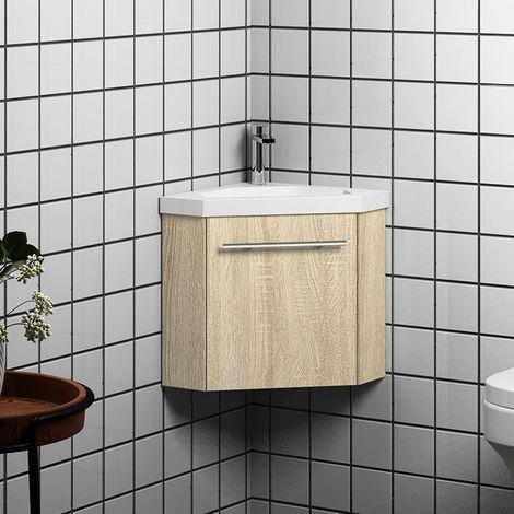 Meuble salle de bain d'angle 1 porte meuble suspendu avec la vasque