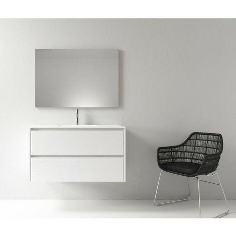 Meuble salle de bain design 100 cm DEKA finition mélaminé blanc - Blanc