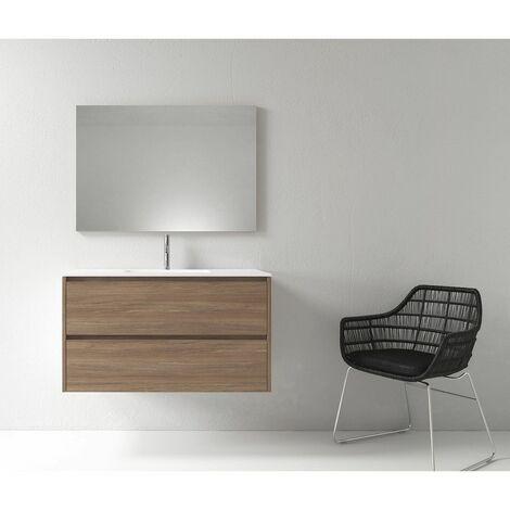 Meuble salle de bain design 100 cm DEKA finition mélaminé chêne brun - Marron