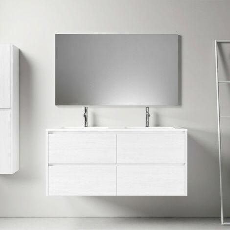 Meuble salle de bain design 120 cm DEKA finition mélaminé blanc - Blanc