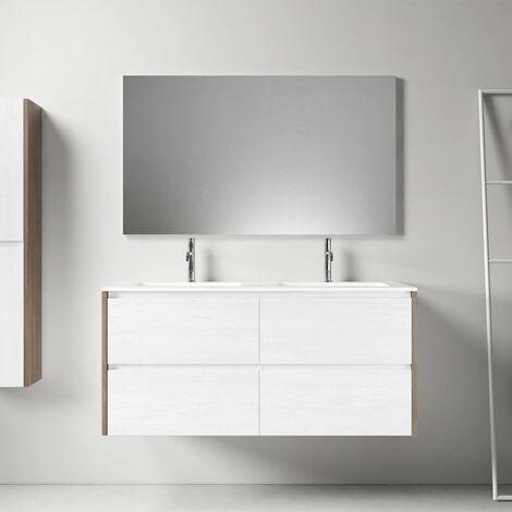 Meuble salle de bain design 120 cm DEKA finition mélaminé blanc et chêne brun - Blanc