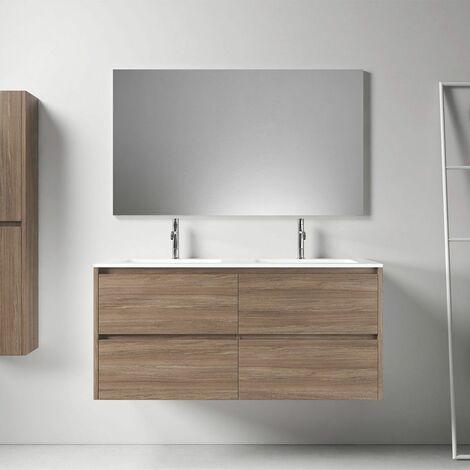 Meuble salle de bain design 120 cm DEKA finition mélaminé chêne brun - Marron
