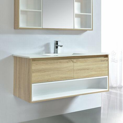 Meuble salle de bain design 120 cm FRAME finition mélaminé chêne avec vasque céramique Beige Meuble seul - Beige