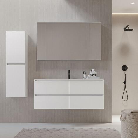 Meuble salle de bain design 120 cm LIMPIO finition mélaminé blanc avec vasque céramique