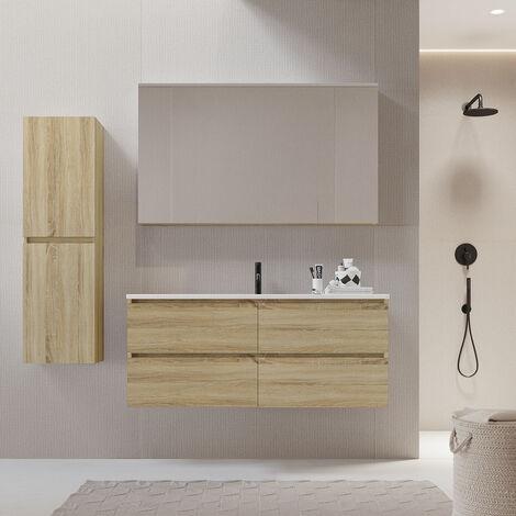 Meuble salle de bain design 120 cm LIMPIO finition mélaminé chêne avec vasque céramique