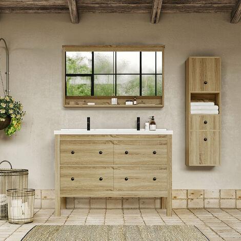 Meuble salle de bain design 120 cm TYPO finition mélaminé chêne avec vasque céramique Meuble seul - Meuble seul