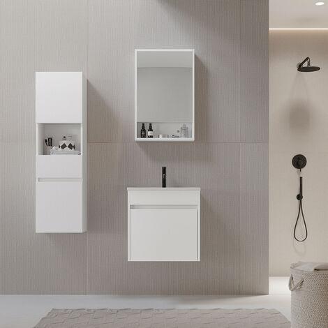 Meuble salle de bain design 50 cm EASY finition mélaminé blanc avec vasque céramique Meuble seul - Blanc