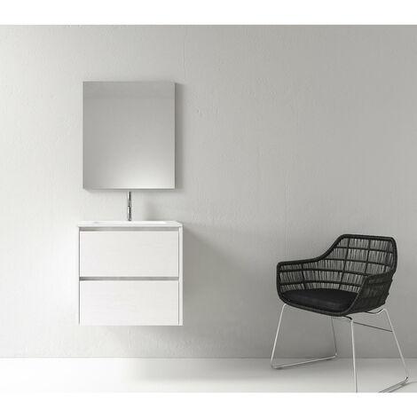 Meuble salle de bain design 60 cm DEKA finition mélaminé blanc - Blanc