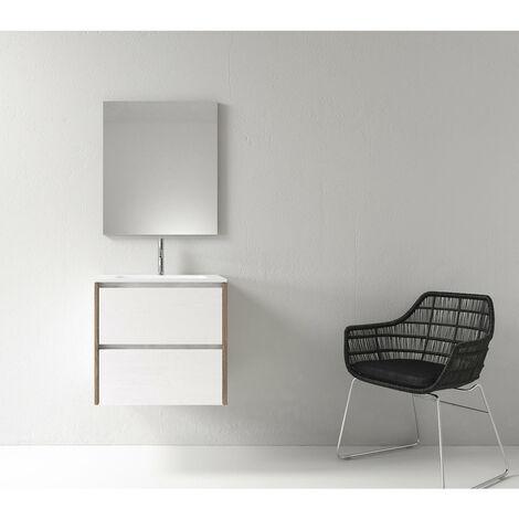 Meuble salle de bain design 60 cm DEKA finition mélaminé blanc et chêne brun - Blanc