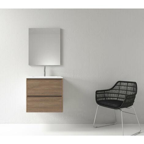 Meuble salle de bain design 60 cm DEKA finition mélaminé chêne brun - Marron