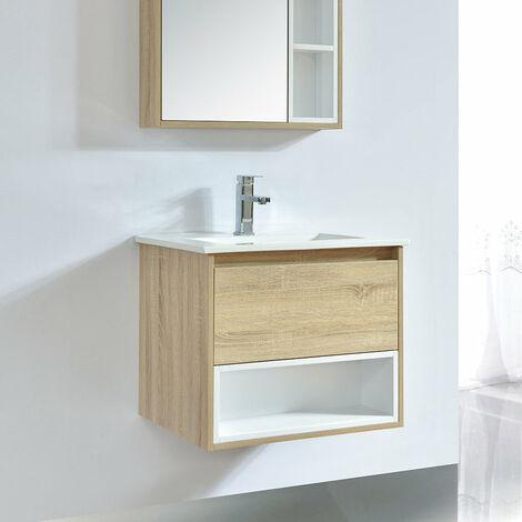 Meuble salle de bain design 60 cm FRAME finition mélaminé chêne avec vasque céramique Beige Meuble seul - Beige