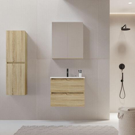 Meuble salle de bain design 60 cm LIMPIO finition mélaminé chêne avec vasque céramique