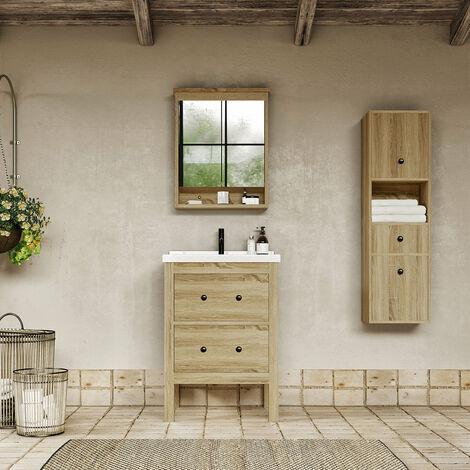Meuble salle de bain design 60 cm TYPO finition mélaminé chêne avec vasque céramique Bloc-miroir inclus - Bloc-miroir inclus