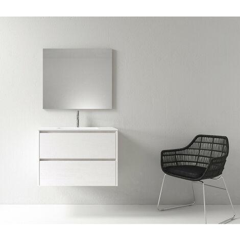 Meuble salle de bain design 80 cm DEKA finition mélaminé blanc - Blanc