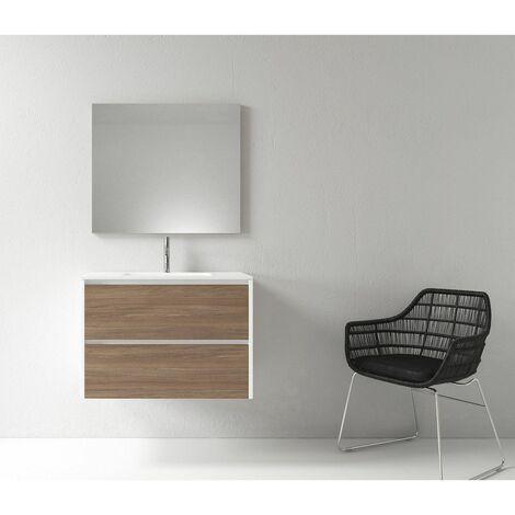 Meuble salle de bain design 80 cm DEKA finition mélaminé chêne brun et blanc - Blanc