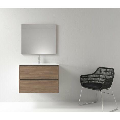 Meuble salle de bain design 80 cm DEKA finition mélaminé chêne brun - Marron