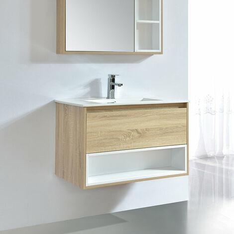 Meuble salle de bain design 80 cm FRAME finition mélaminé chêne avec vasque céramique Beige Meuble seul - Beige
