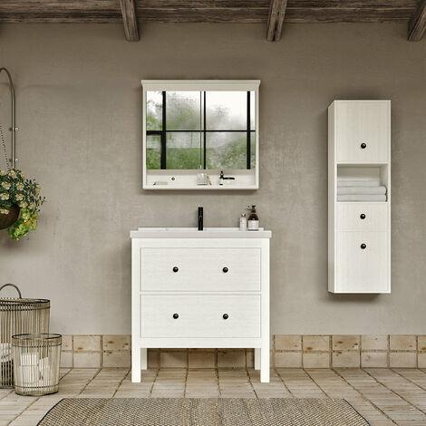 Meuble salle de bain design 80 cm TYPO finition mélaminé blanc avec vasque céramique Meuble seul - Blanc Meuble seul