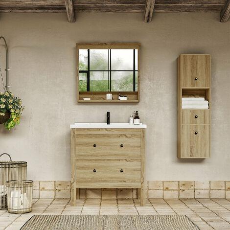 Meuble salle de bain design 80 cm TYPO finition mélaminé chêne avec vasque céramique Meuble seul - Meuble seul