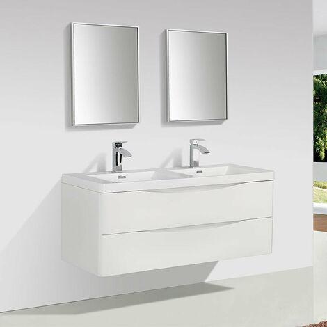 Meuble salle de bain design double vasque PIACENZA largeur 120 cm blanc laqué - Blanc
