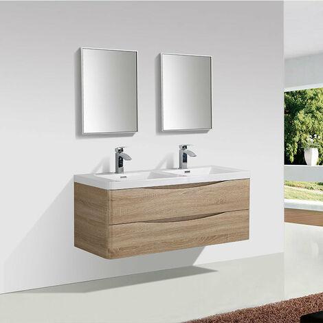 Meuble salle de bain design double vasque PIACENZA largeur 120 cm chêne clair - Marron