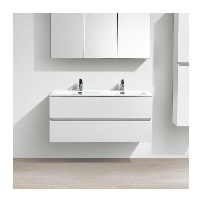 Meuble Salle De Bain Design Double Vasque SIENA Largeur 120 Cm, Blanc Laqué    A 1200 CAB HGWHITE/A 1200 BAS