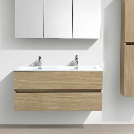Meuble salle de bain design double vasque SIENA largeur 120 cm chêne clair texturé - Marron