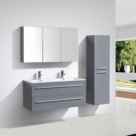 Meuble salle de bain design double vasque SIENA largeur 120 cm, gris laqué
