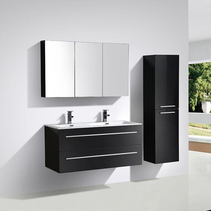 Meuble salle de bain design double vasque SIENA largeur 120 cm, noir laqué
