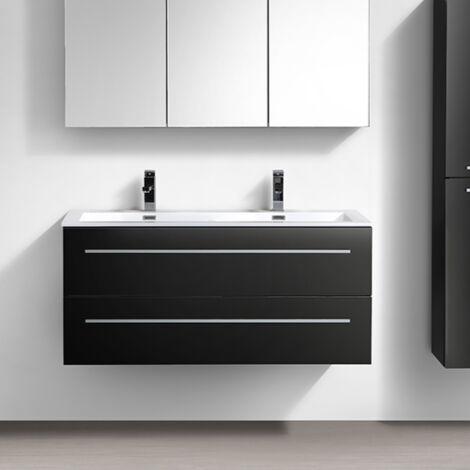 Meuble salle de bain design double vasque SIENA largeur 120 cm, noir ...