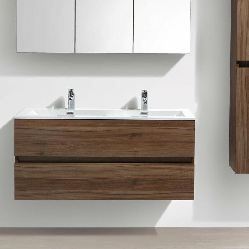 Meuble salle de bain design double vasque siena largeur 120 cm noyer a 1200 cab walnut a 1200 bas - Meuble vasque 120 cm ...