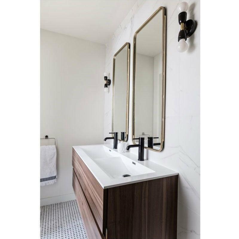 Meuble salle de bain design double vasque SIENA largeur 120 cm, noyer