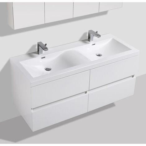 Meuble salle de bain design double vasque SIENA largeur 144 cm blanc laqué - Blanc