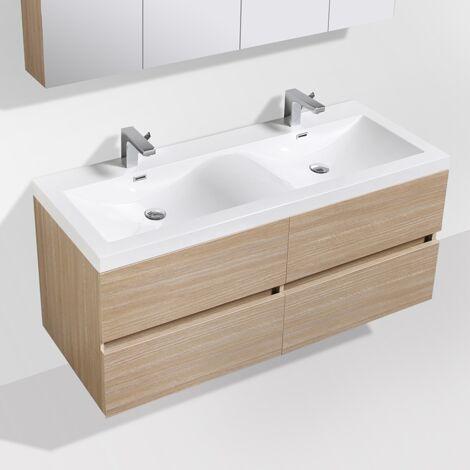 Meuble salle de bain design double vasque SIENA largeur 144 cm chêne clair texturé - Beige