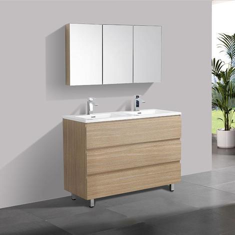 Meuble salle de bain design double vasque VERONA largeur 120 cm, chêne clair