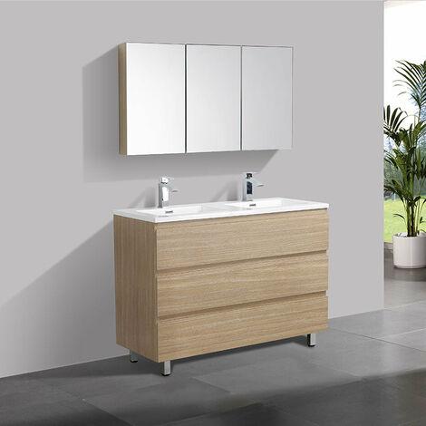 Meuble salle de bain design double vasque VERONA largeur 120 cm chêne clair texturé - Marron