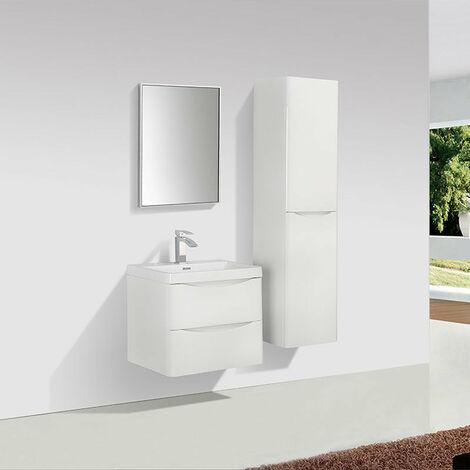 Meuble salle de bain design simple vasque PIACENZA largeur 60 cm blanc laqué - Blanc