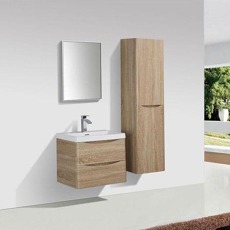 Meuble salle de bain design simple vasque PIACENZA largeur 60 cm chêne clair - Marron
