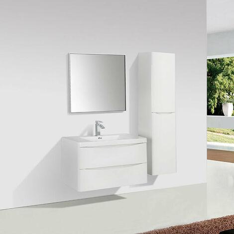 Meuble salle de bain design simple vasque PIACENZA largeur 90 cm blanc laqué - Blanc