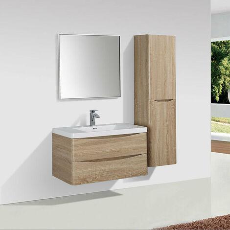 Meuble salle de bain design simple vasque PIACENZA largeur 90 cm chêne clair - Beige