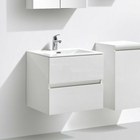 Meuble Salle De Bain Design Simple Vasque Siena Largeur 60 Cm Blanc